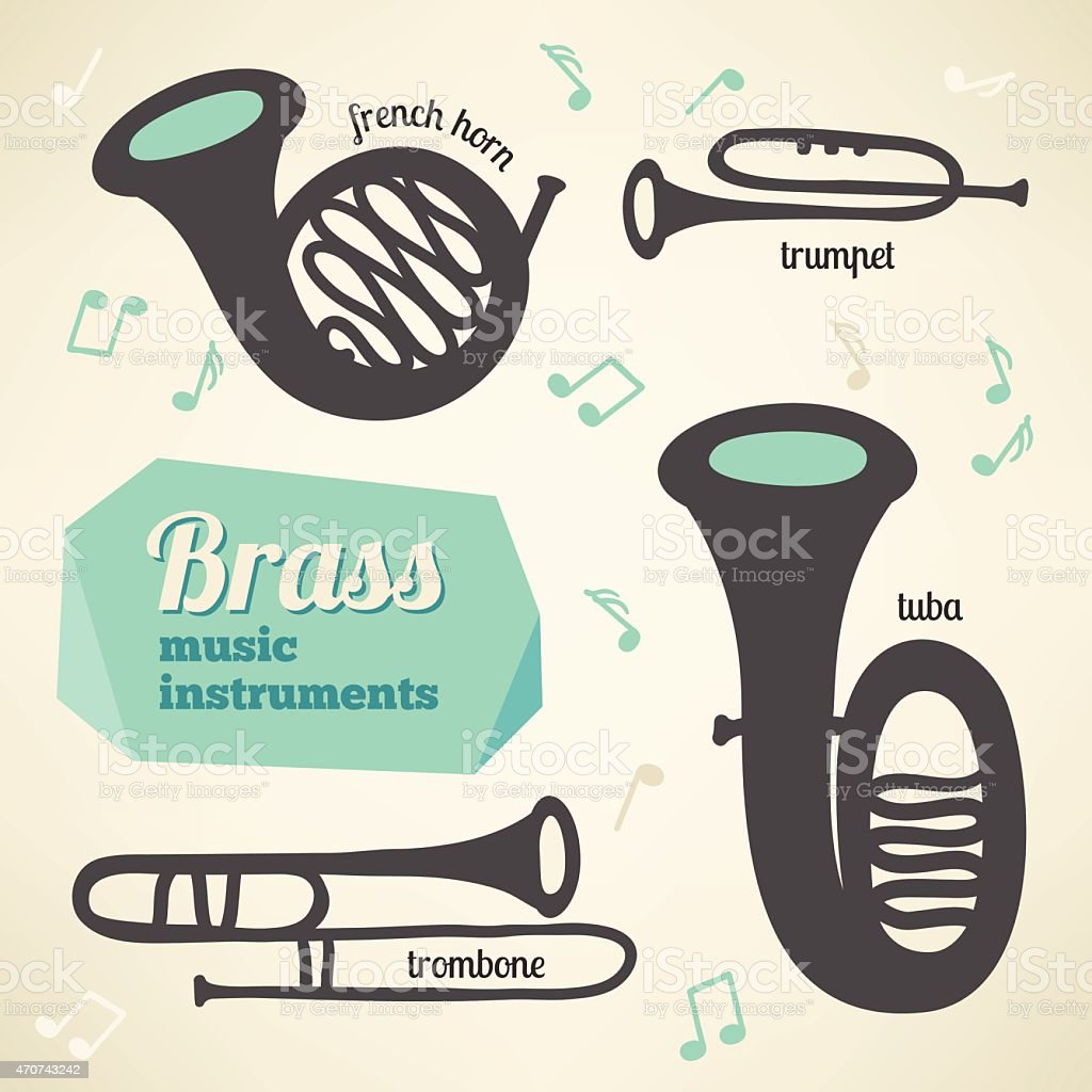 Vector collection of brass music instruments vector art illustration