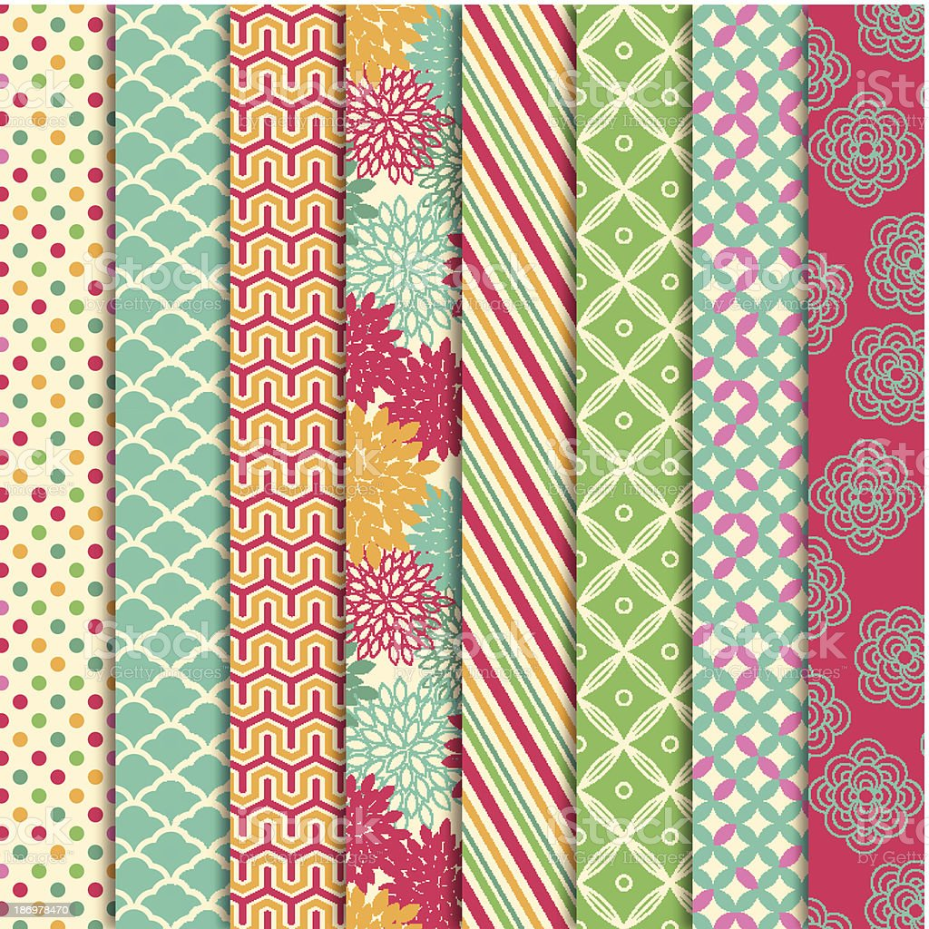 Vector Collection of Bright and Colorful Backgrounds or Digital Papers vector art illustration