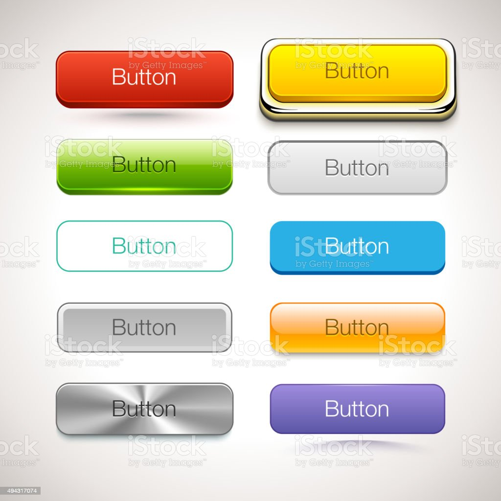Vector Collection of Buttons in different style vector art illustration