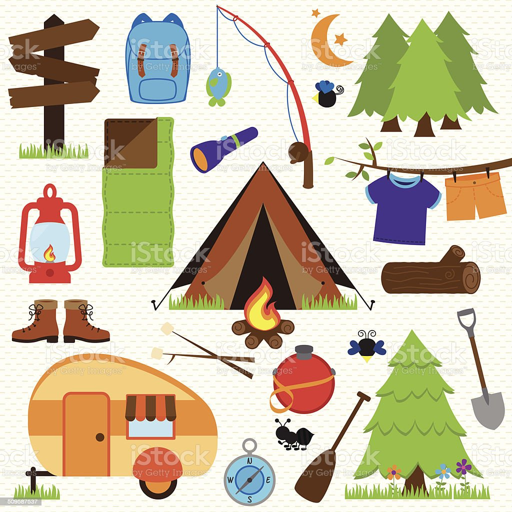Vector Collection of Camping and Outdoors Themed Images vector art illustration