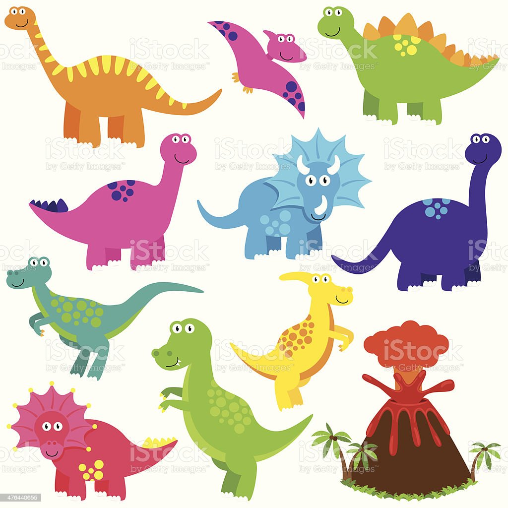 Vector Collection of Cartoon Dinoaurs with a Volcano royalty-free stock vector art