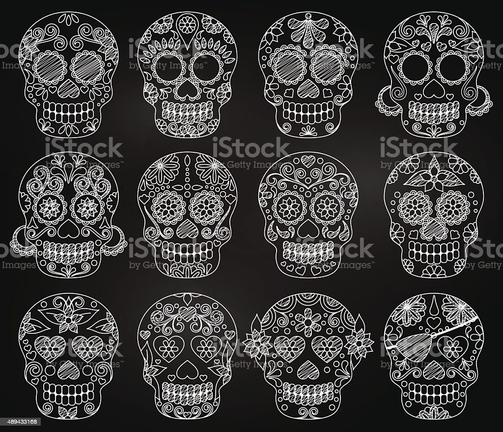 Vector Collection of Chalkboard Day of the Dead Skulls vector art illustration