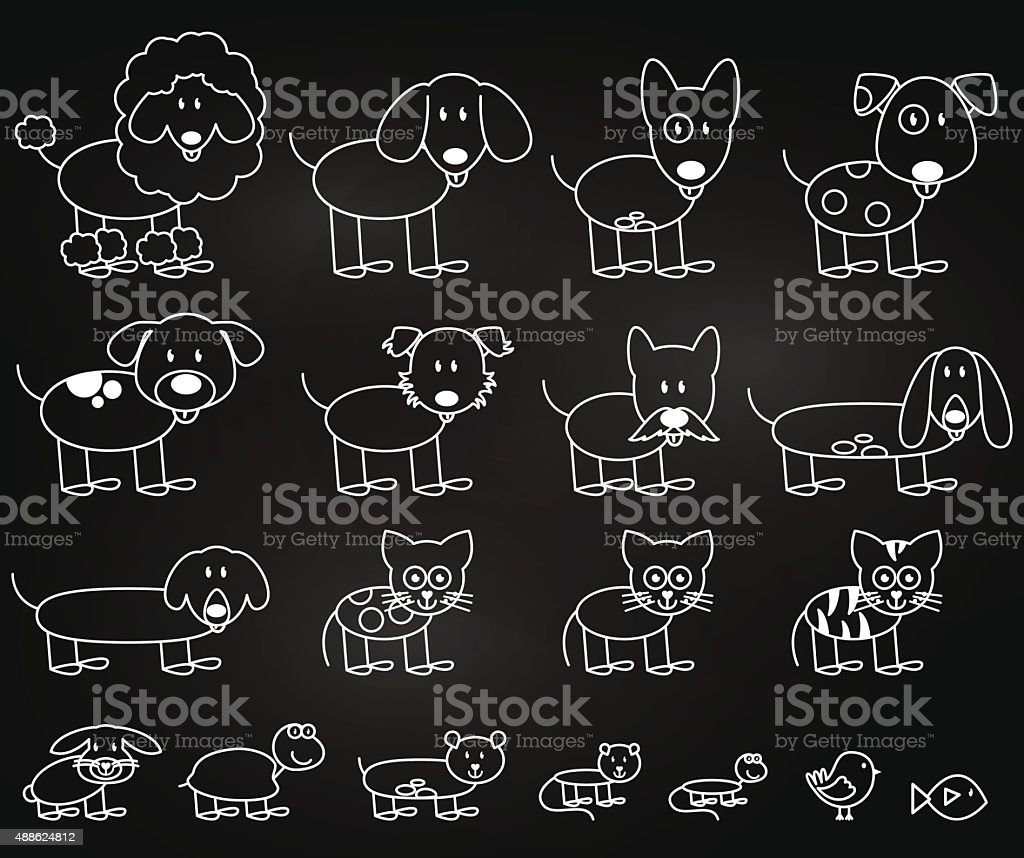 Vector Collection of Chalkboard Style Stick Figure Pets vector art illustration