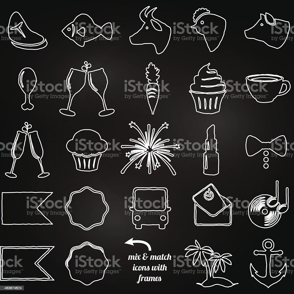 Vector Collection of Chalkboard Style Wedding or Engagement Icons vector art illustration
