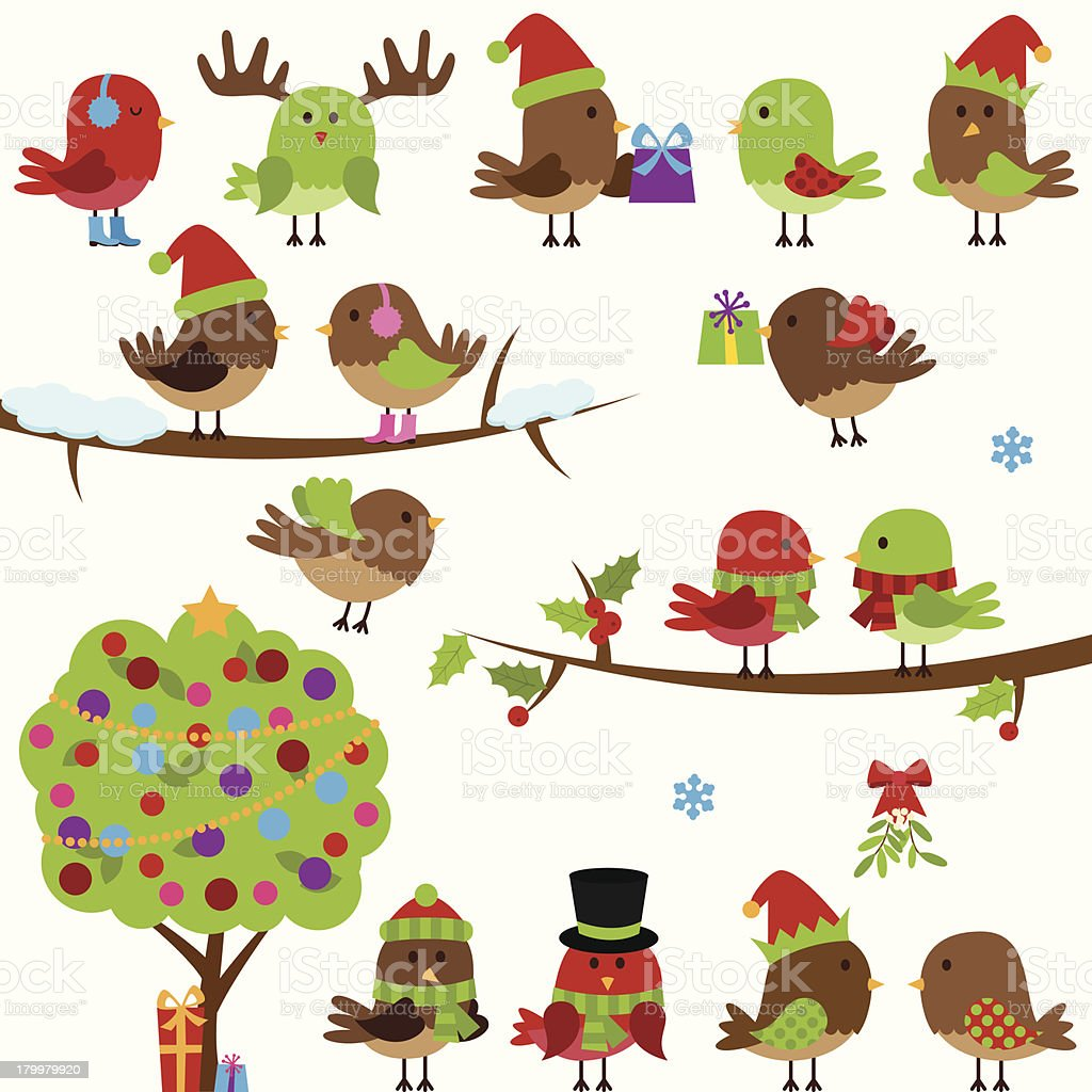 Vector Collection of Christmas and Winter Birds royalty-free stock vector art