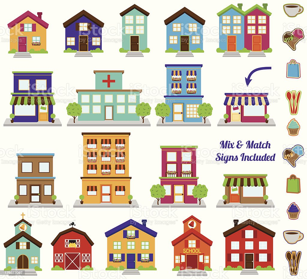 Vector Collection of City and Town Buildings, including various signs vector art illustration