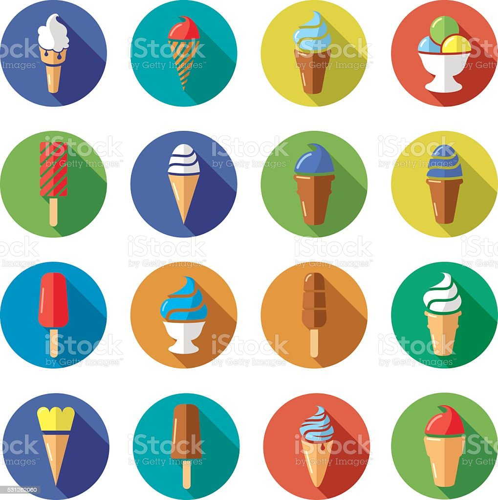 vector collection of colorful ice cream flat icons vector art illustration