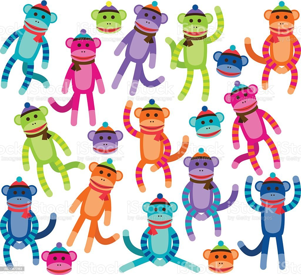 Vector Collection of Cute and Colorful Sock Monkeys vector art illustration
