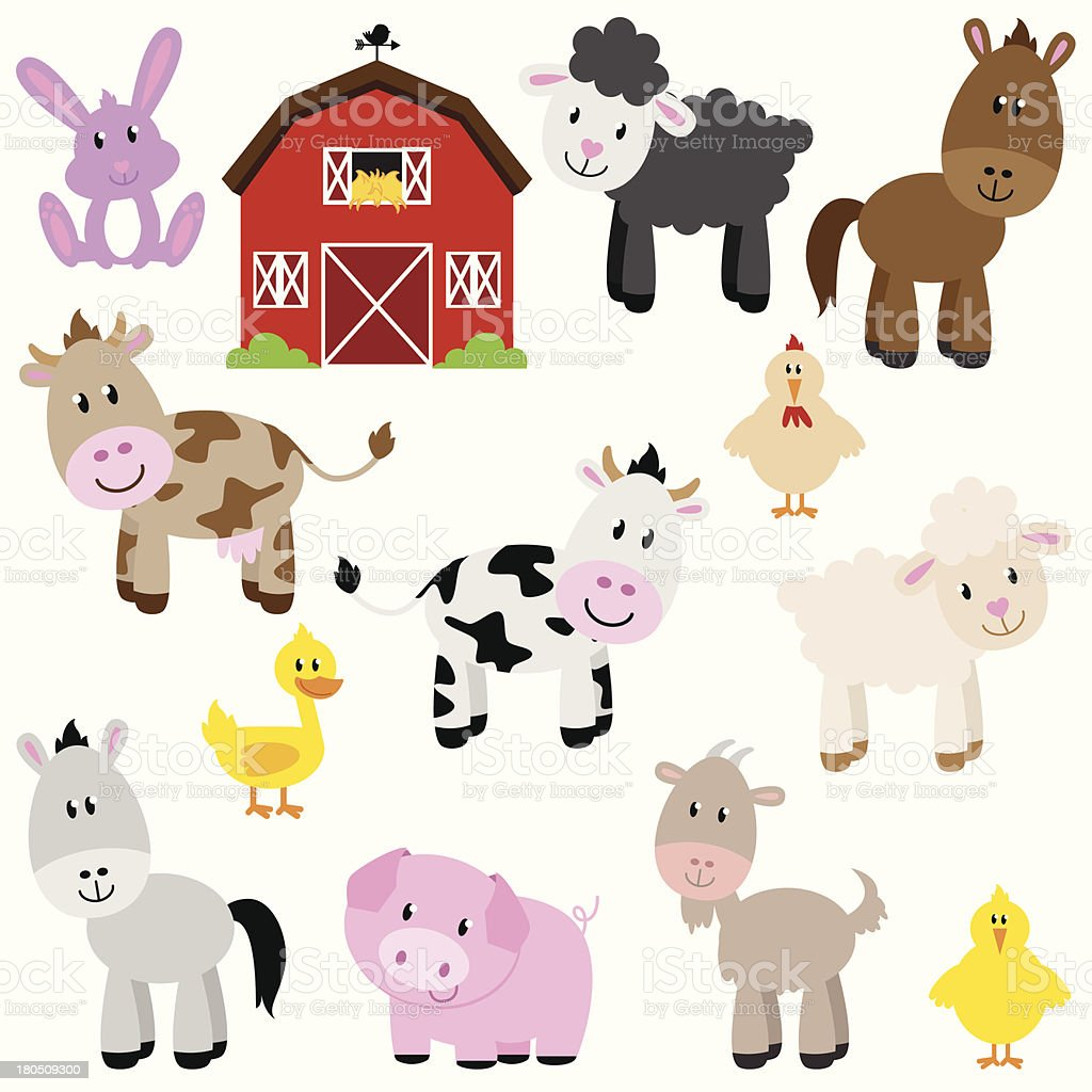 Vector Collection of Cute Cartoon Farm Animals and Barn vector art illustration