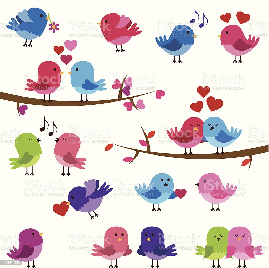 Vector Collection of Cute Love Birds vector art illustration