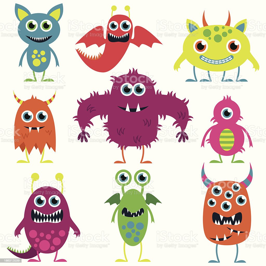 Vector Collection of Cute Monsters vector art illustration