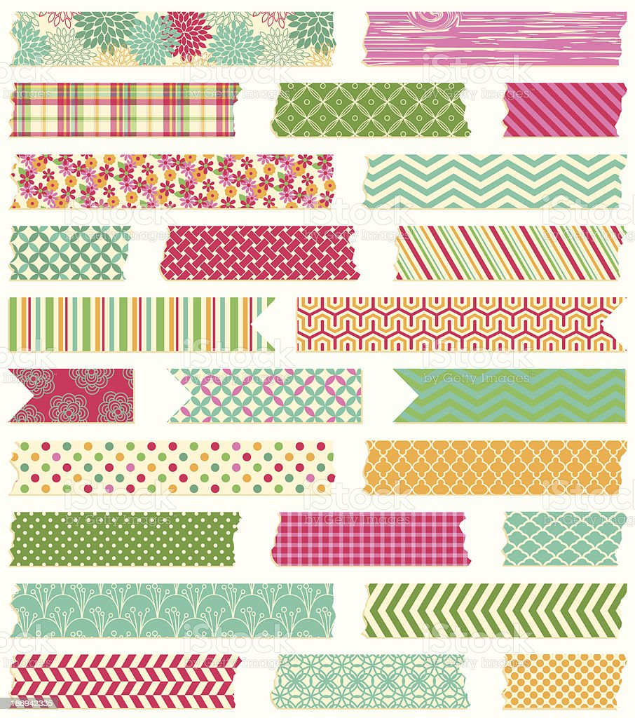 Vector Collection of Cute Patterned Washi Tape Strips royalty-free stock vector art