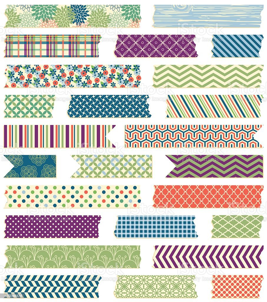 Vector Collection of Cute Patterned Washi Tape Strips vector art illustration