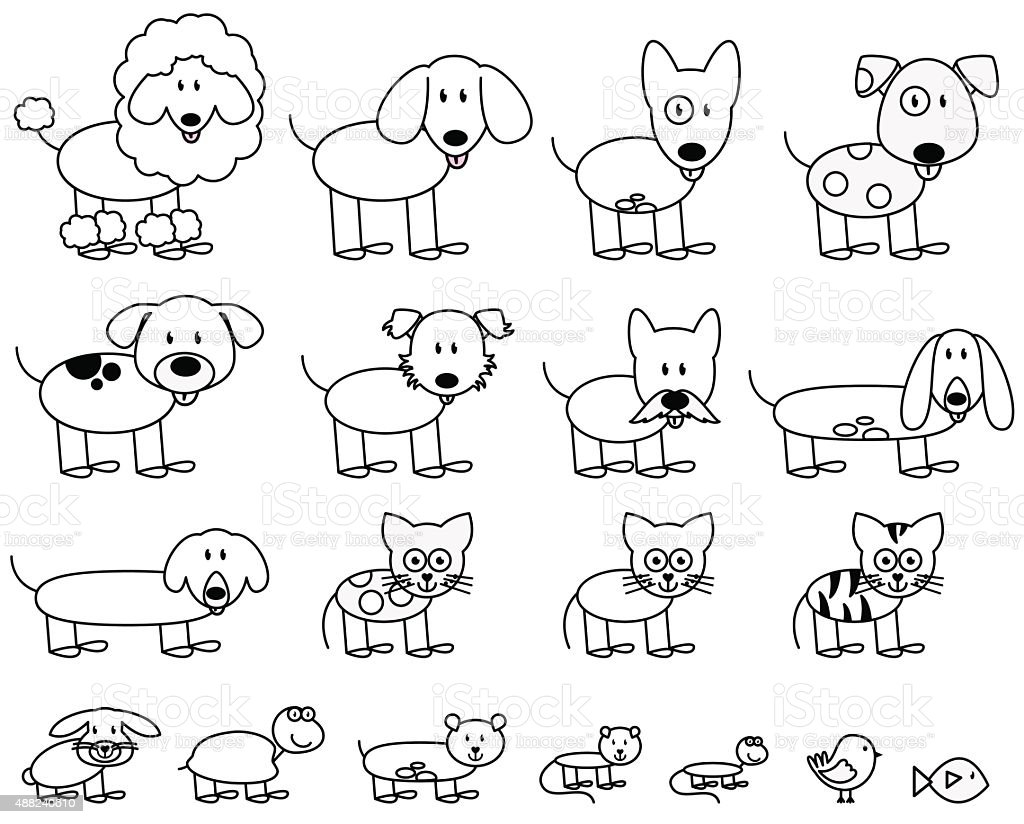 Vector Collection of Cute Stick Figure Pets and Animals vector art illustration