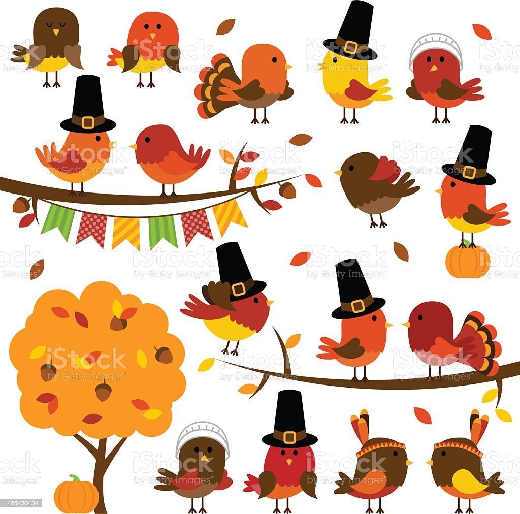 Vector Collection of Cute Thanksgiving and Autumn Birds vector art illustration