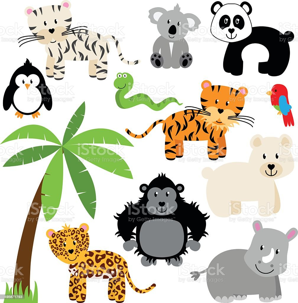 Vector Collection of Cute Zoo, Jungle or Wild Animals vector art illustration
