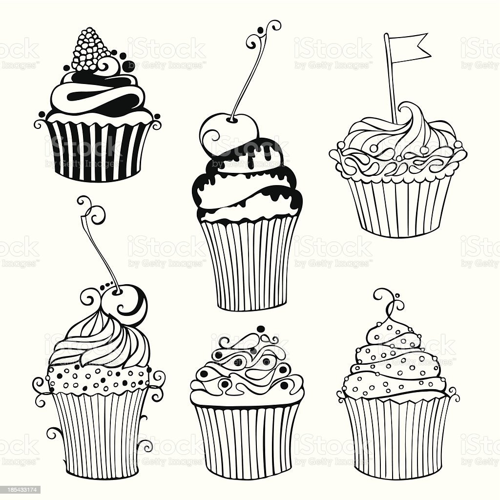 Vector collection of decorative hand drawn sweet cupcakes royalty-free stock vector art