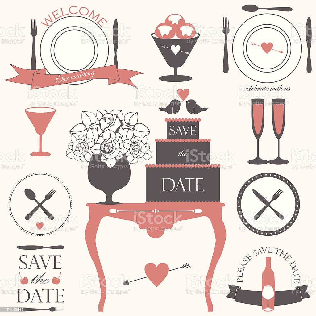 Vector collection of decorative wedding and dinner elements royalty-free stock vector art