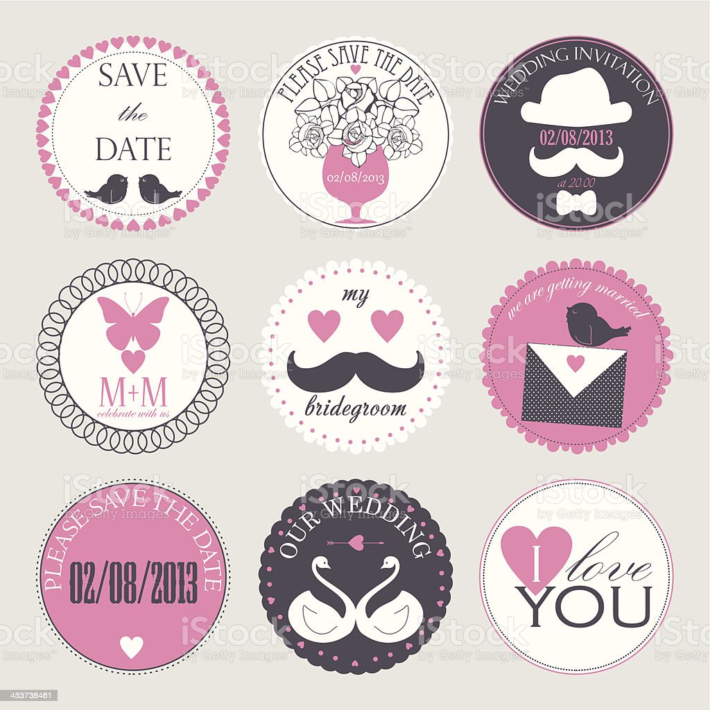 Vector collection of decorative wedding icons royalty-free stock vector art