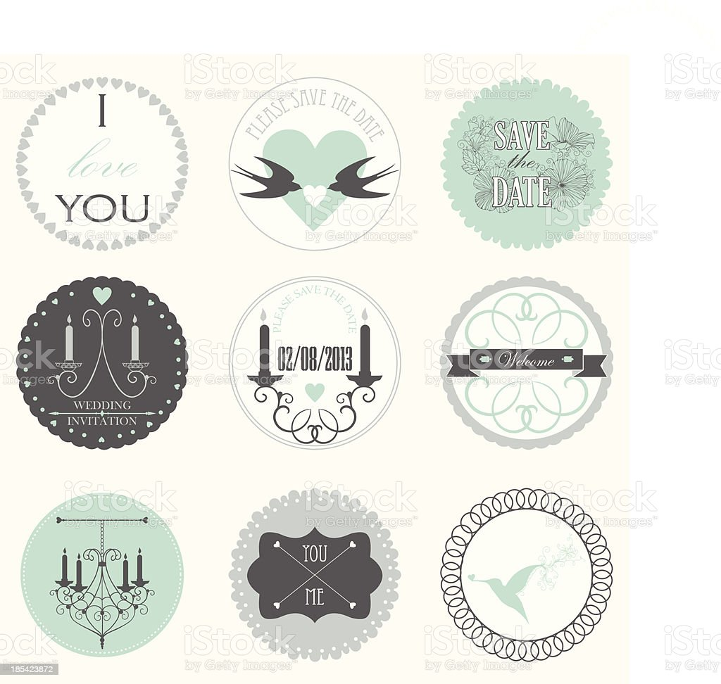 Vector collection of decorative wedding stickers in retro colors. royalty-free stock vector art