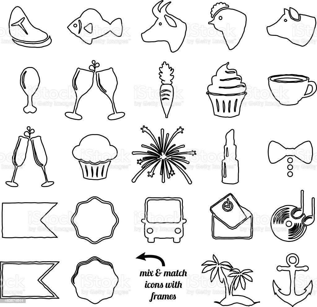 Vector Collection of Doodle and Scribble Style Wedding Icons vector art illustration