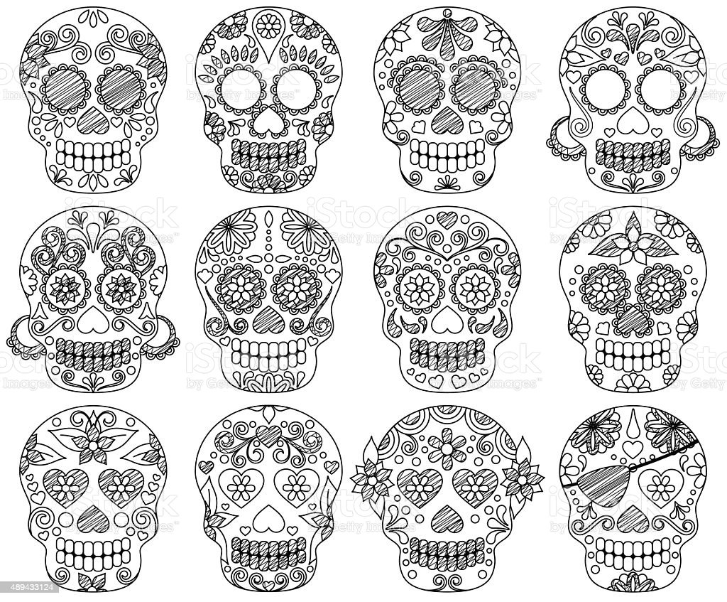 Vector Collection of Doodle Day of the Dead Skulls vector art illustration
