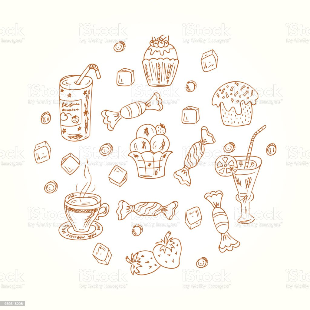 Vector collection of Doodle Desserts elements in circle shape vector art illustration