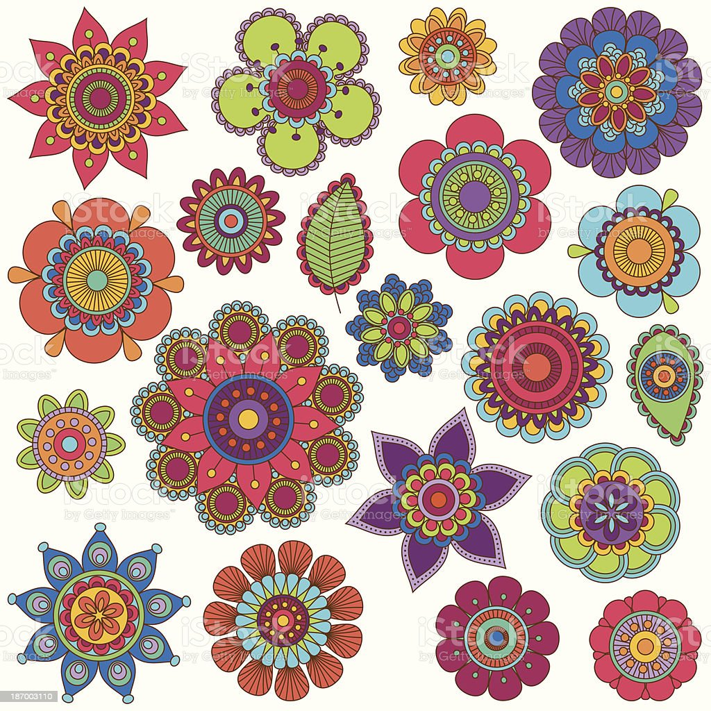 Vector Collection of Doodle Style Flowers or Mandalas royalty-free stock vector art
