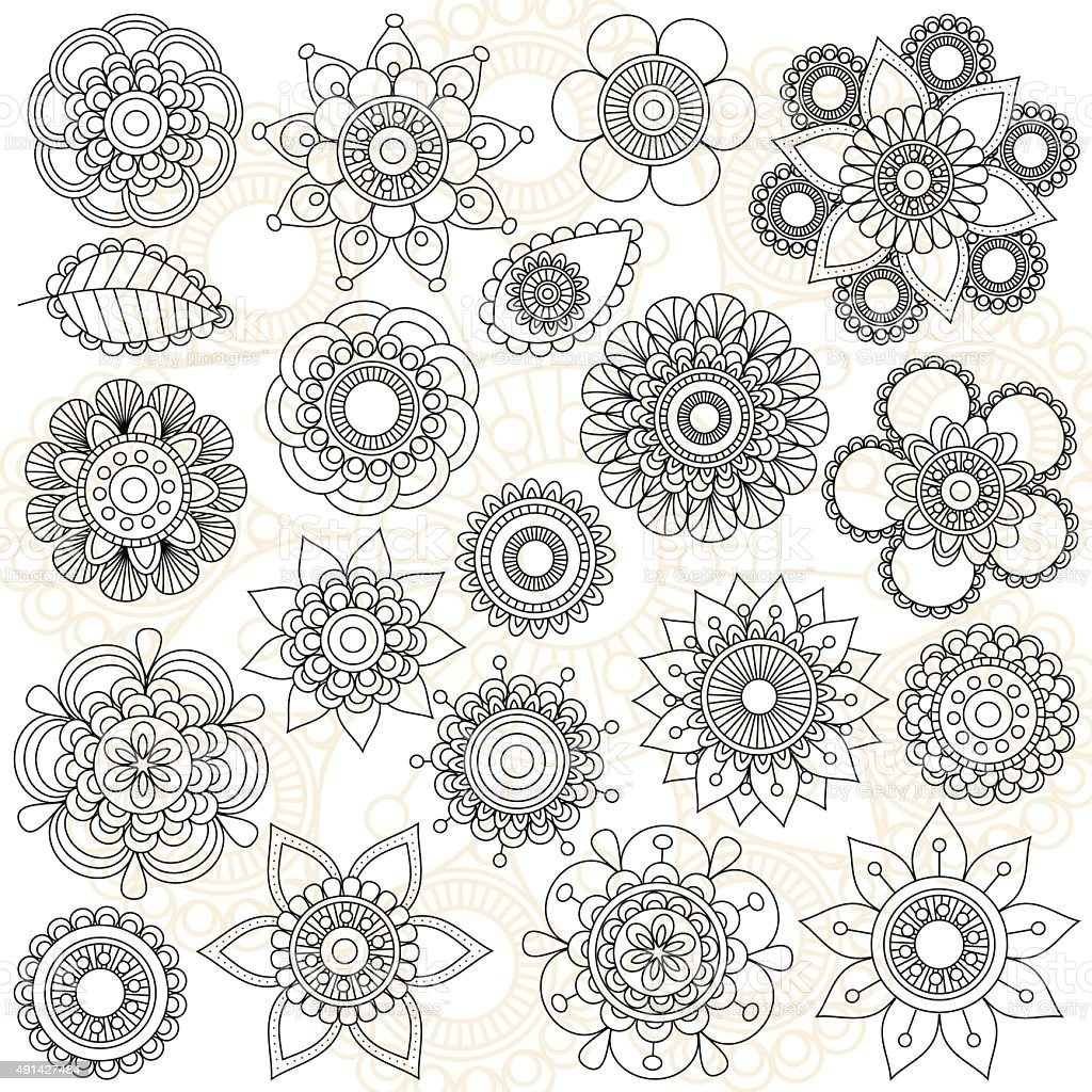 Vector Collection of Doodle Style Flowers or Mandalas vector art illustration