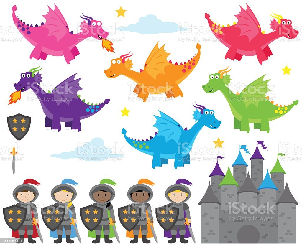 Vector Collection of Dragon and Knights Themed Images vector art illustration