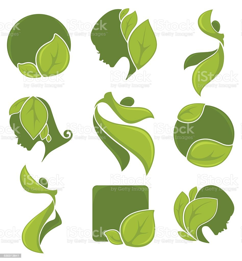 vector collection of ecology, nature, and beauty symbols vector art illustration