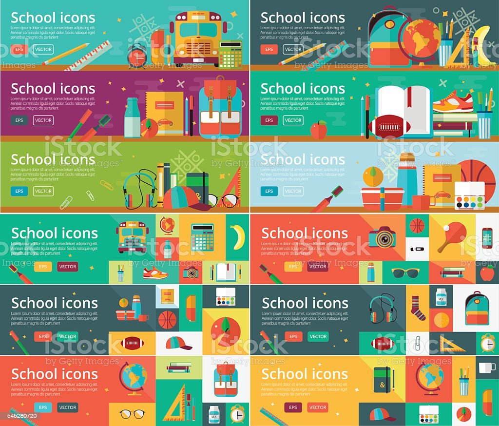 Vector collection of flat education design concepts. Horizontal banners set vector art illustration