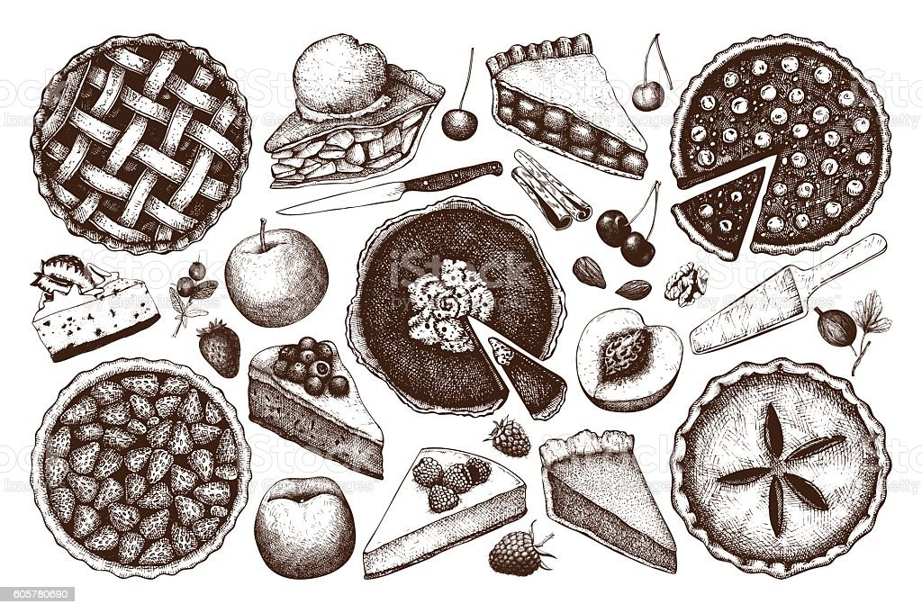 Vector collection of  fruit and berry baking illustration. vector art illustration