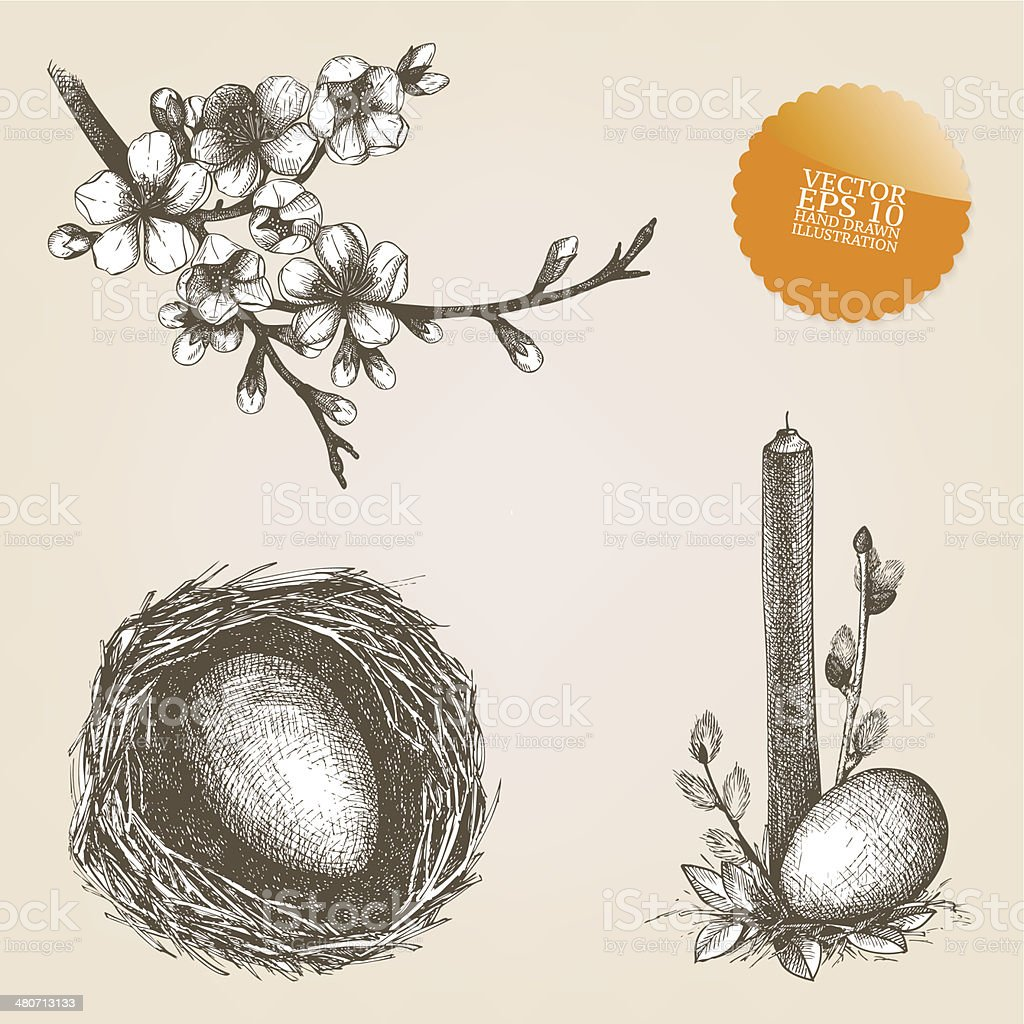 Vector collection of hand drawn Easter illustrations royalty-free stock vector art