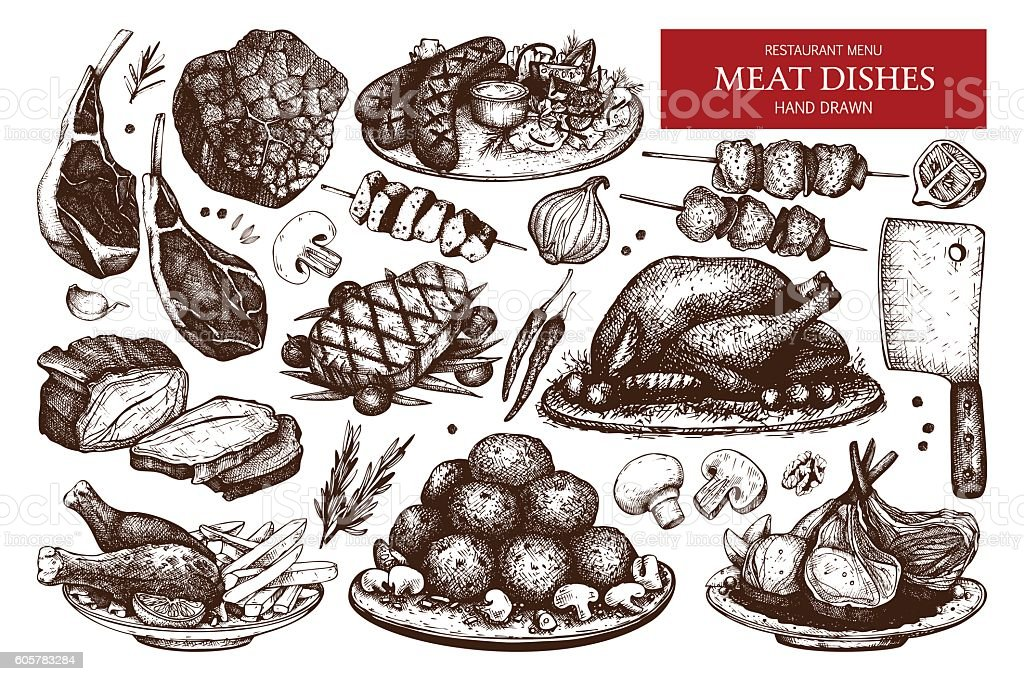 Vector collection of hand drawn meat illustration. vector art illustration