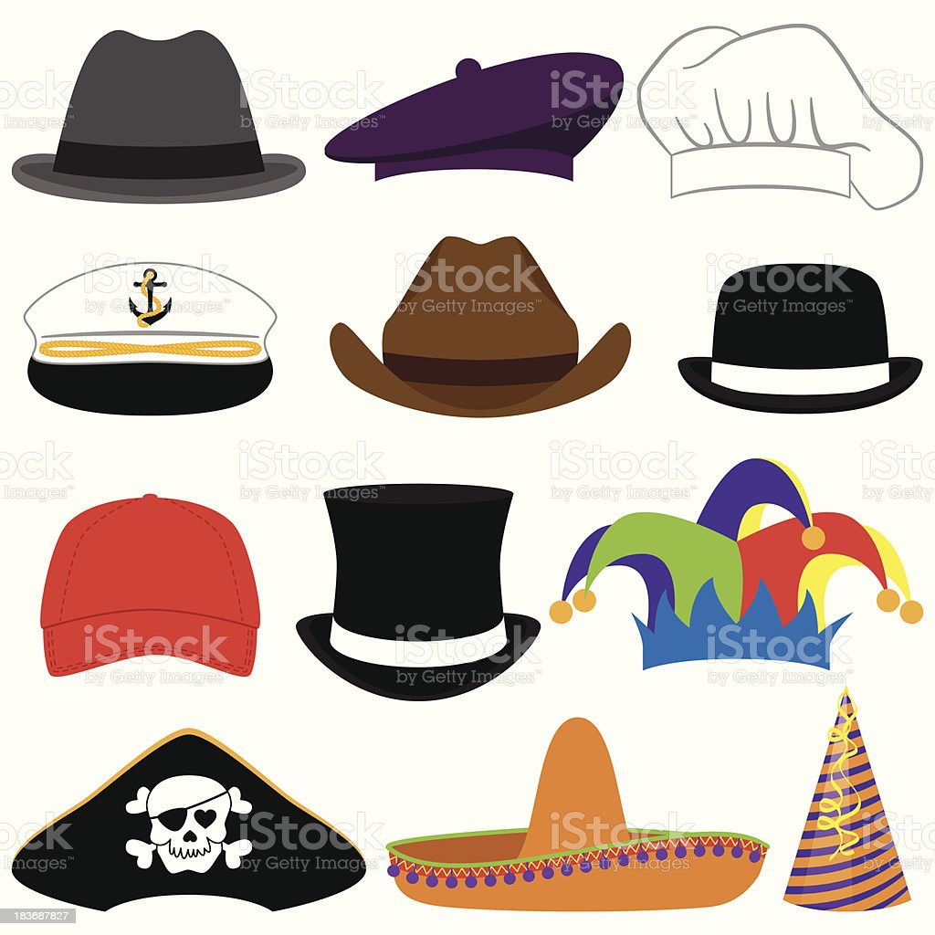 Vector Collection of Hats or Photo Props vector art illustration