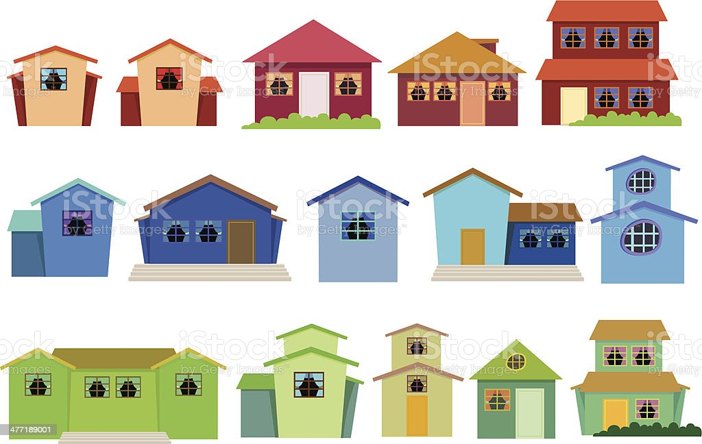 Vector collection of houses vector art illustration