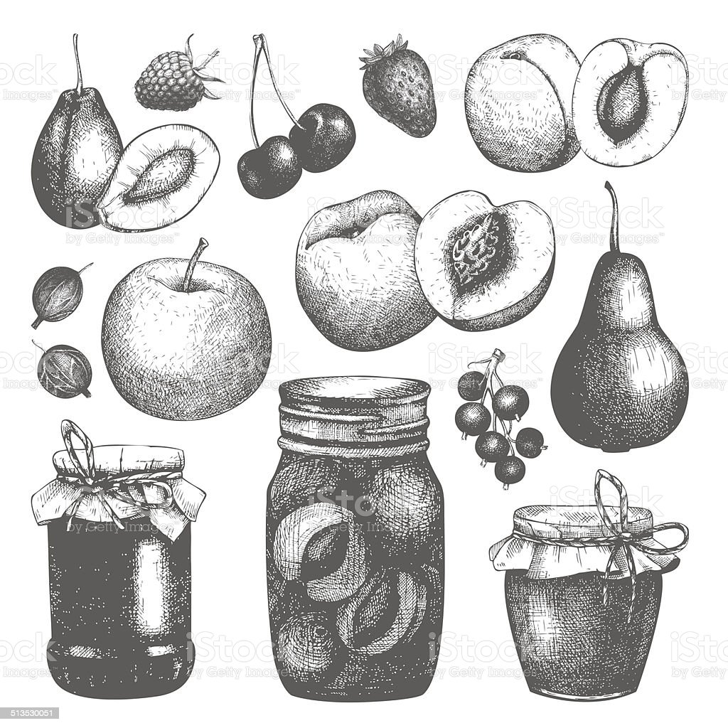 Vector collection of ink hand drawn jam jars vector art illustration