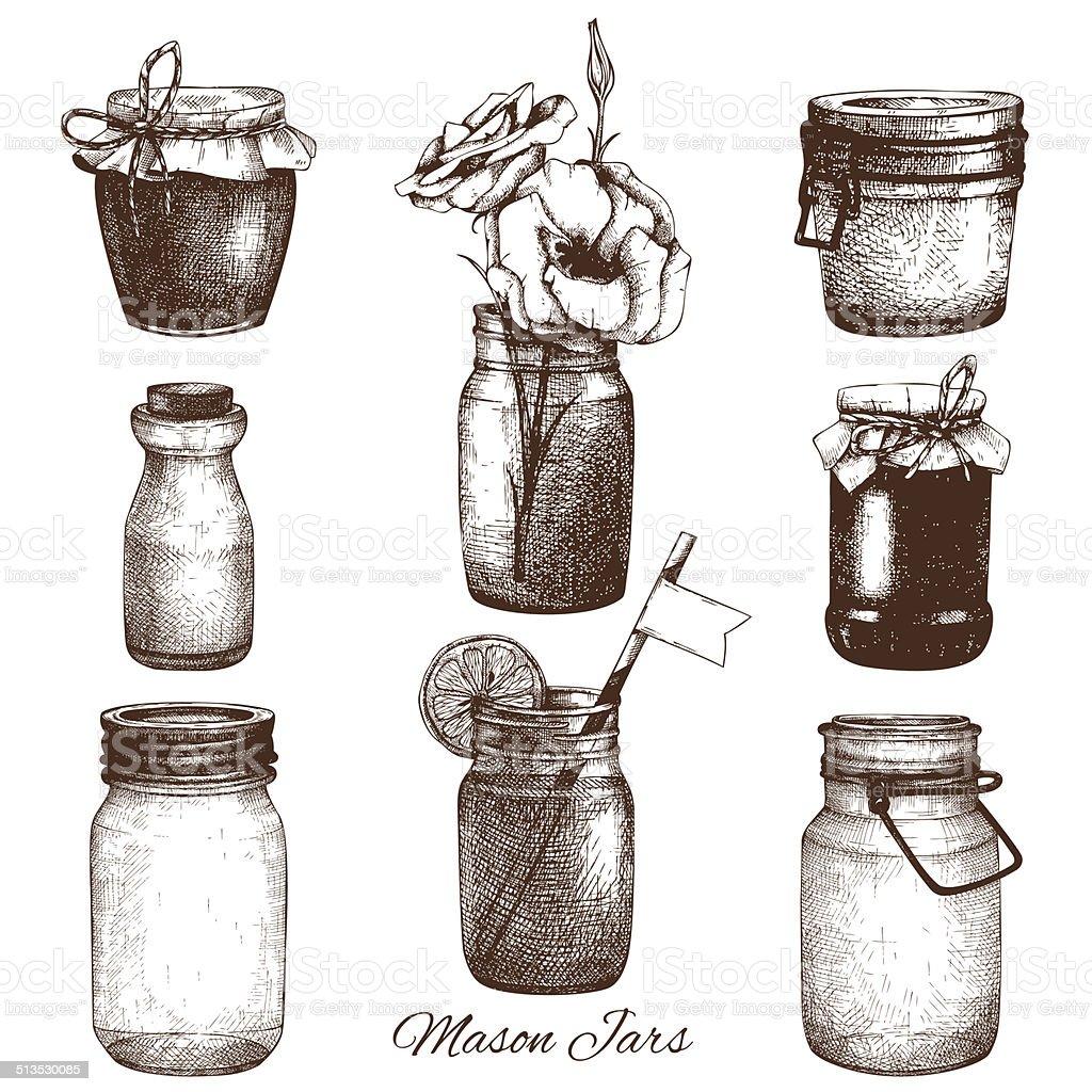 Vector collection of ink hand drawn mason jars. vector art illustration