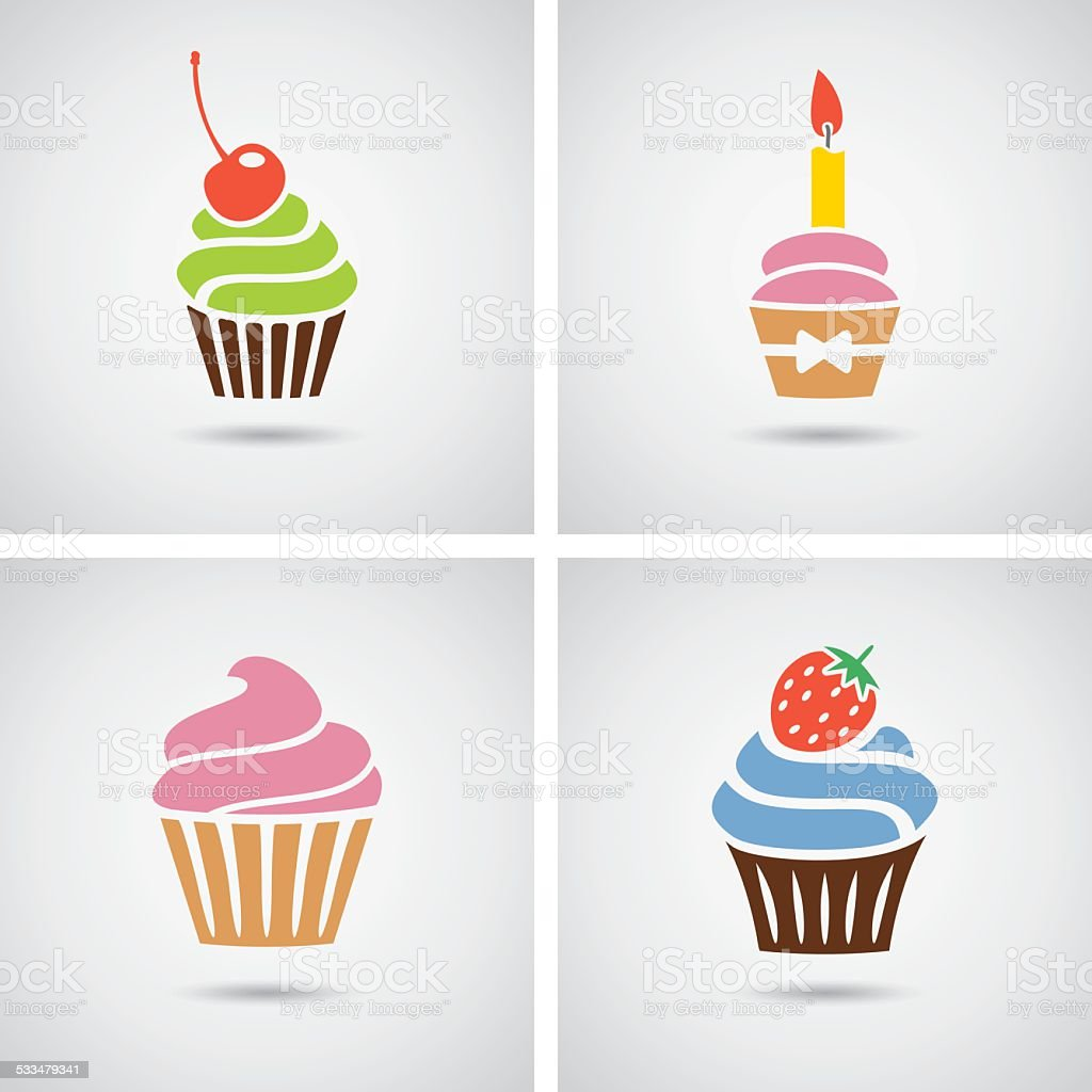 vector collection of isolated colorful cupcakes icons vector art illustration