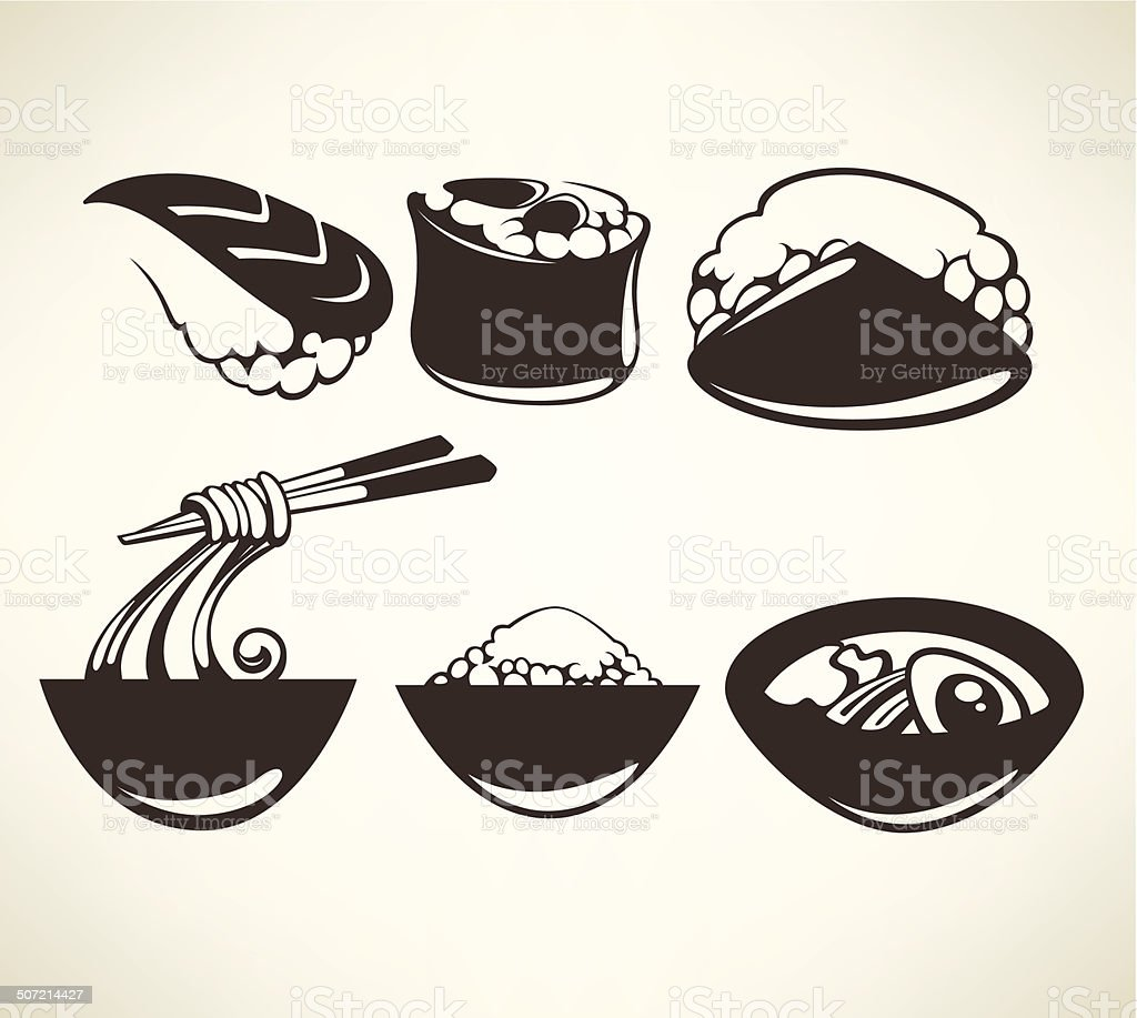 vector collection of japanese food symbols vector art illustration