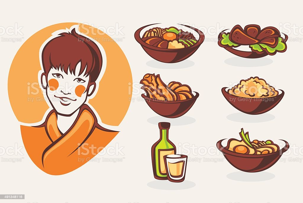 vector collection of korean food symbols vector art illustration