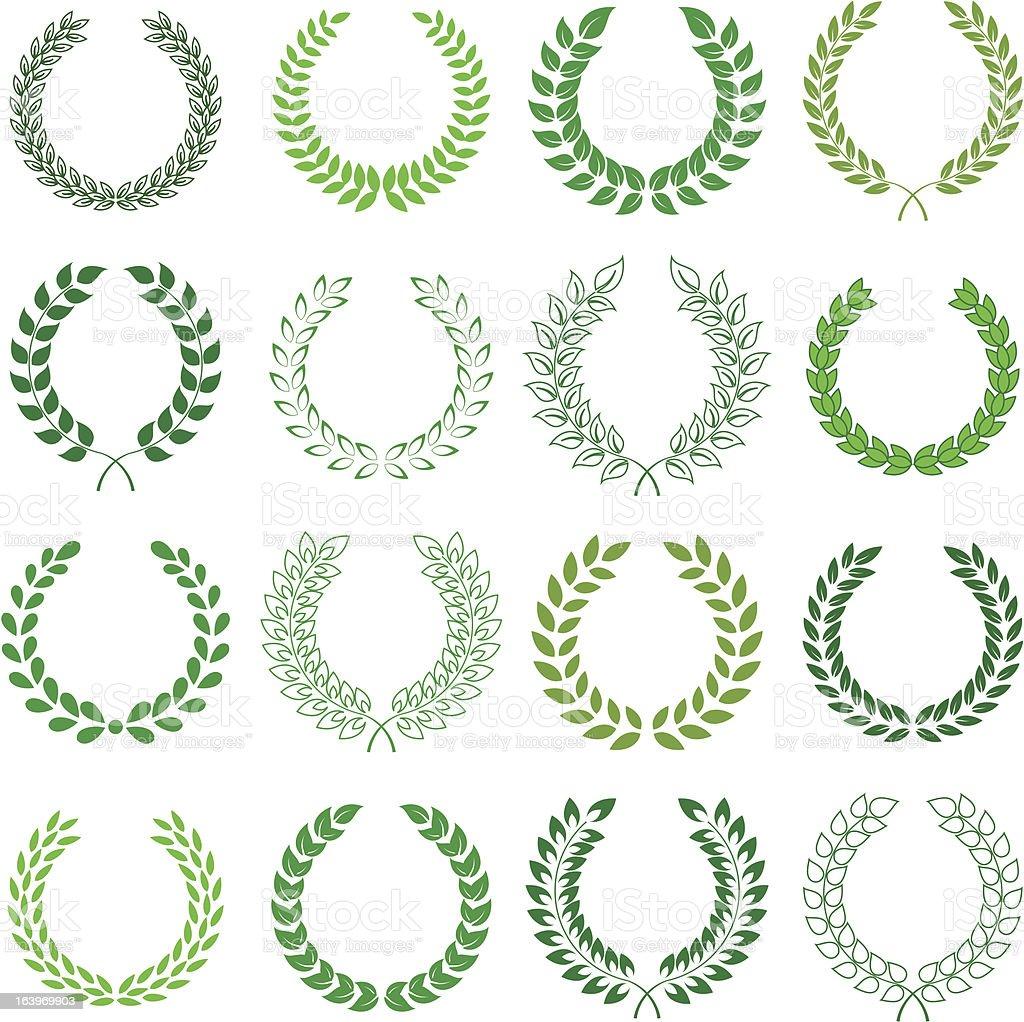vector collection of laurel wreaths royalty-free stock vector art