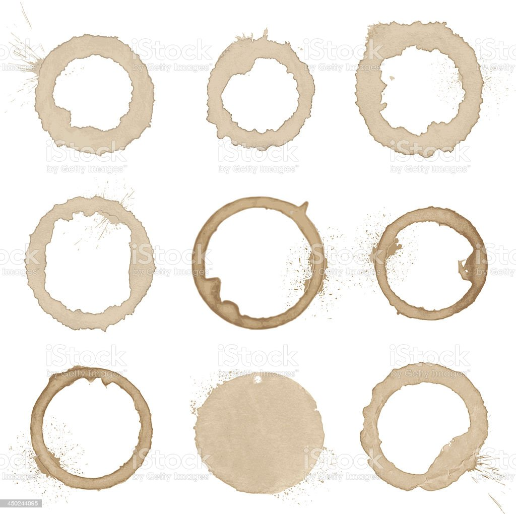 vector collection of natural coffee stains royalty-free stock vector art