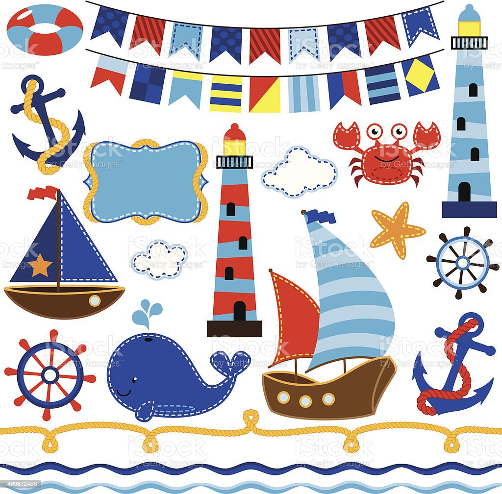 Vector Collection of Nautical and Sailing Themed Elements vector art illustration