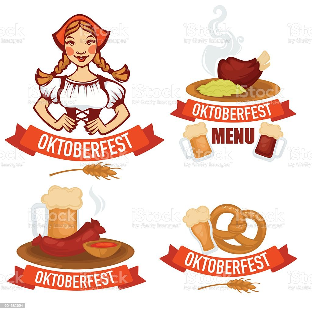 vector collection of oktoberfest emblems stickers vector art illustration