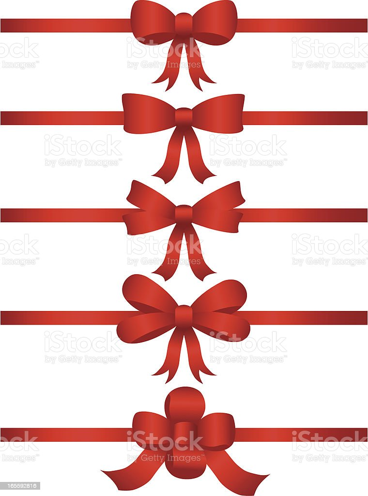 Vector collection of red bows royalty-free stock vector art
