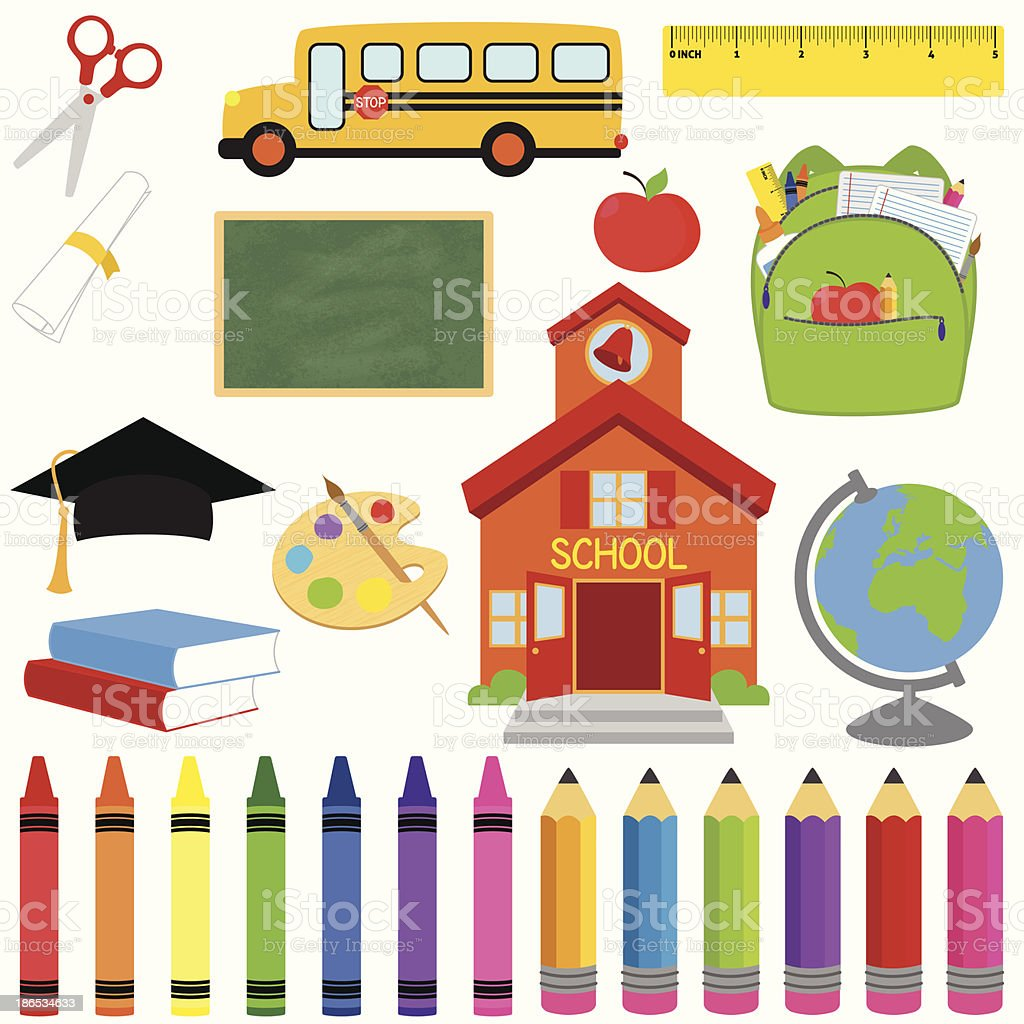 Vector Collection of School Supplies and Images vector art illustration