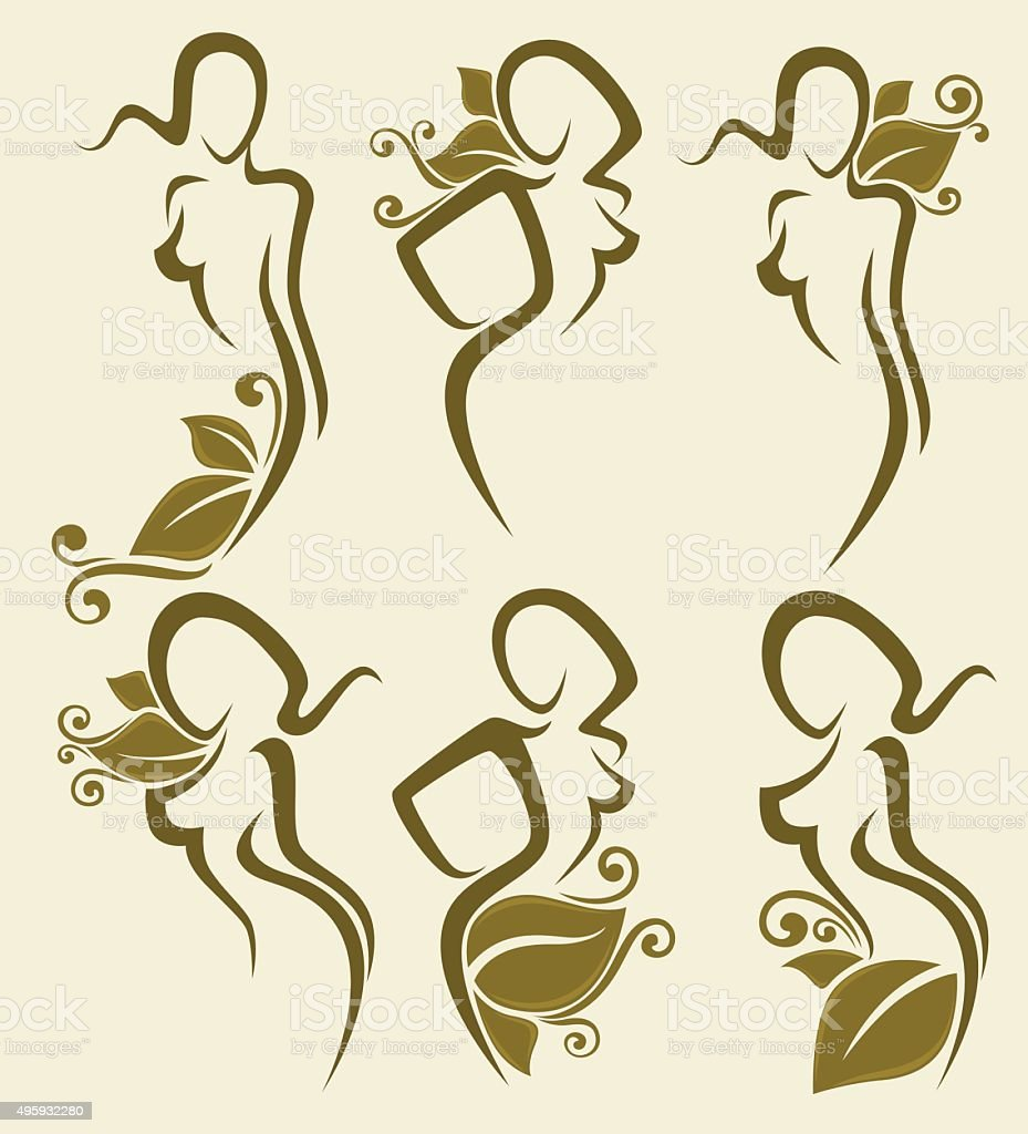 vector collection of simple girl's images with floral decoration vector art illustration