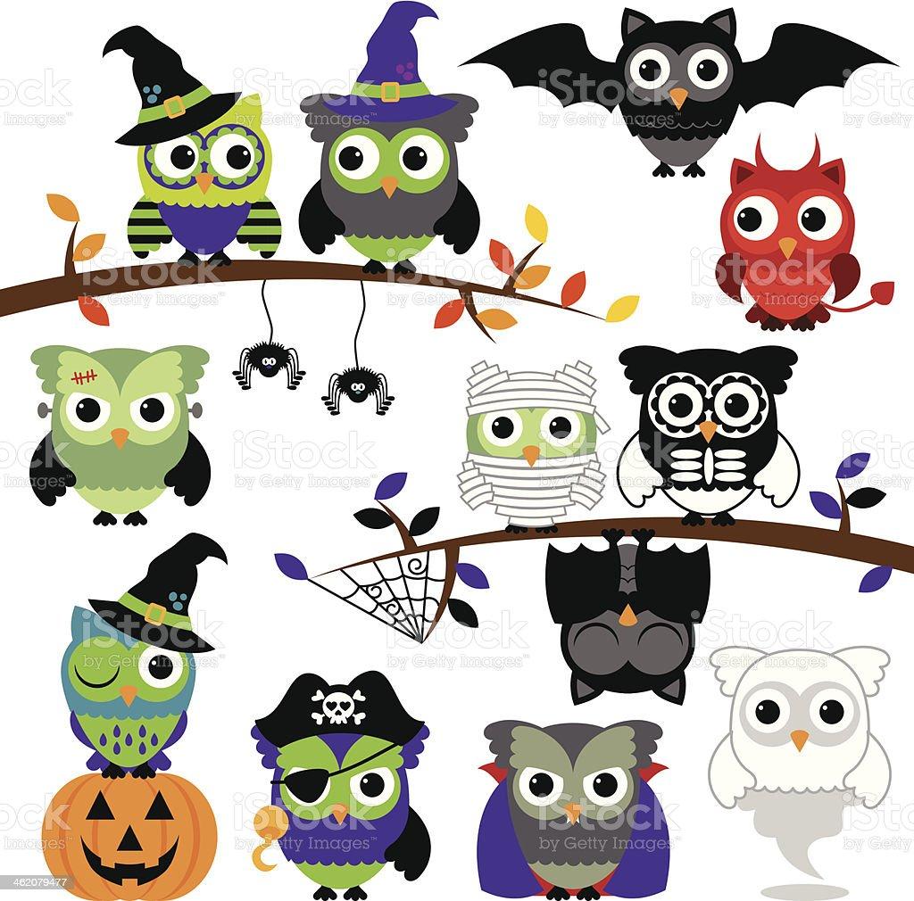 Vector Collection of Spooky Halloween Owls vector art illustration